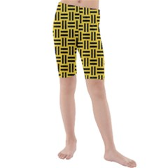 Woven1 Black Marble & Yellow Colored Pencil Kids  Mid Length Swim Shorts