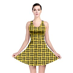 Woven1 Black Marble & Yellow Colored Pencil Reversible Skater Dress
