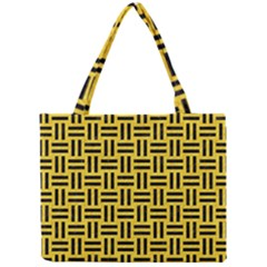 Woven1 Black Marble & Yellow Colored Pencil Mini Tote Bag