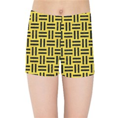 Woven1 Black Marble & Yellow Colored Pencil Kids Sports Shorts