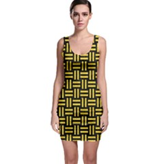 Woven1 Black Marble & Yellow Colored Pencil (r) Bodycon Dress