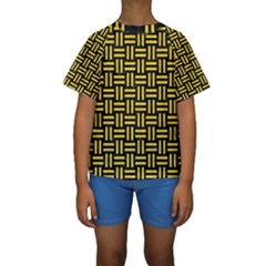 Woven1 Black Marble & Yellow Colored Pencil (r) Kids  Short Sleeve Swimwear