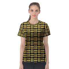 Woven1 Black Marble & Yellow Colored Pencil (r) Women s Sport Mesh Tee