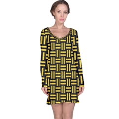 Woven1 Black Marble & Yellow Colored Pencil (r) Long Sleeve Nightdress