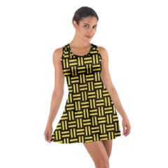 Woven1 Black Marble & Yellow Colored Pencil (r) Cotton Racerback Dress