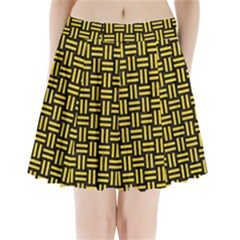 Woven1 Black Marble & Yellow Colored Pencil (r) Pleated Mini Skirt
