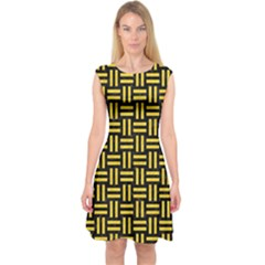 Woven1 Black Marble & Yellow Colored Pencil (r) Capsleeve Midi Dress