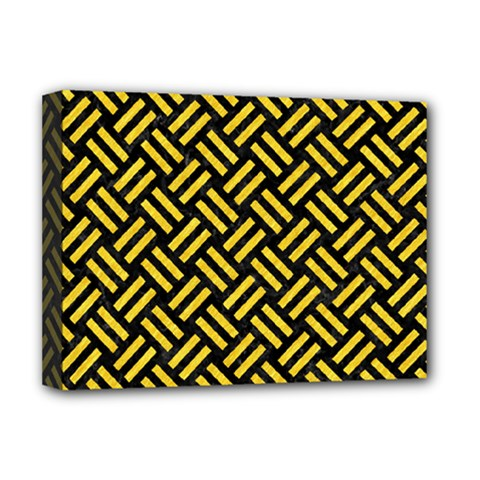 Woven2 Black Marble & Yellow Colored Pencil (r) Deluxe Canvas 16  X 12