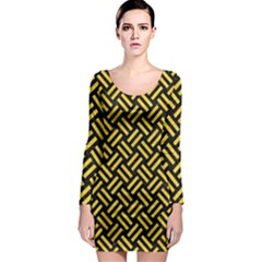 Woven2 Black Marble & Yellow Colored Pencil (r) Long Sleeve Bodycon Dress