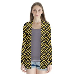 Woven2 Black Marble & Yellow Colored Pencil (r) Drape Collar Cardigan