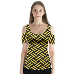 Woven2 Black Marble & Yellow Colored Pencil (r) Butterfly Sleeve Cutout Tee