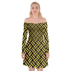 Woven2 Black Marble & Yellow Colored Pencil (r) Off Shoulder Skater Dress