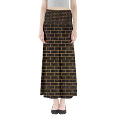 Brick1 Black Marble & Yellow Grunge (r) Full Length Maxi Skirt