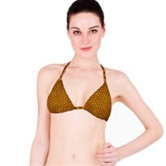 Brick2 Black Marble & Yellow Grunge Bikini Top