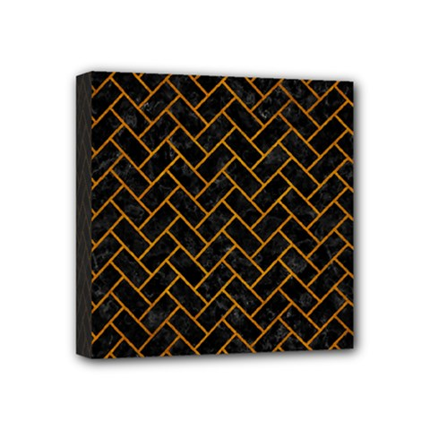 Brick2 Black Marble & Yellow Grunge (r) Mini Canvas 4  X 4