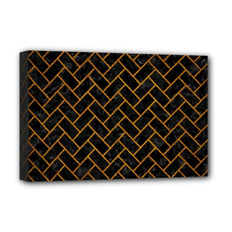 Brick2 Black Marble & Yellow Grunge (r) Deluxe Canvas 18  X 12