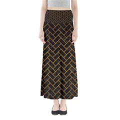 Brick2 Black Marble & Yellow Grunge (r) Full Length Maxi Skirt