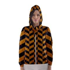 Chevron1 Black Marble & Yellow Grunge Hooded Wind Breaker (women)