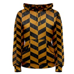 Chevron1 Black Marble & Yellow Grunge Women s Pullover Hoodie