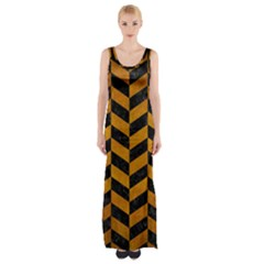 Chevron1 Black Marble & Yellow Grunge Maxi Thigh Split Dress