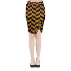 Chevron1 Black Marble & Yellow Grunge Midi Wrap Pencil Skirt