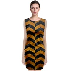 Chevron2 Black Marble & Yellow Grunge Classic Sleeveless Midi Dress