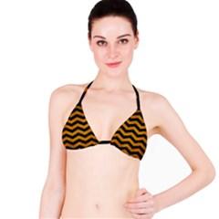 Chevron3 Black Marble & Yellow Grunge Bikini Top