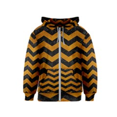 Chevron3 Black Marble & Yellow Grunge Kids  Zipper Hoodie