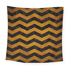 Chevron3 Black Marble & Yellow Grunge Square Tapestry (large)