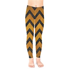 Chevron9 Black Marble & Yellow Grunge Kids  Legging