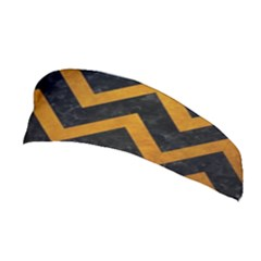 Chevron9 Black Marble & Yellow Grunge (r) Stretchable Headband