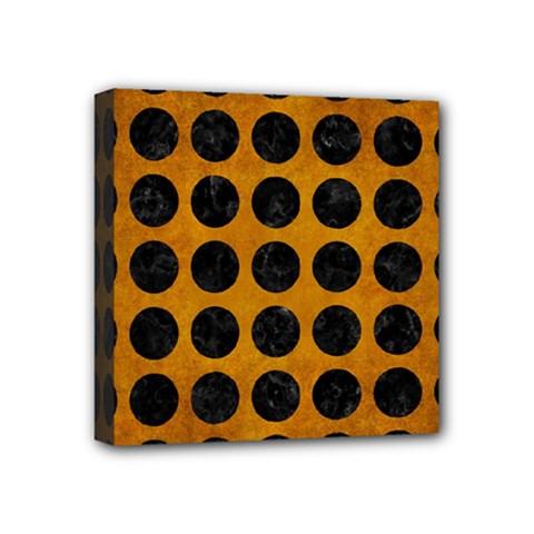 Circles1 Black Marble & Yellow Grunge Mini Canvas 4  X 4