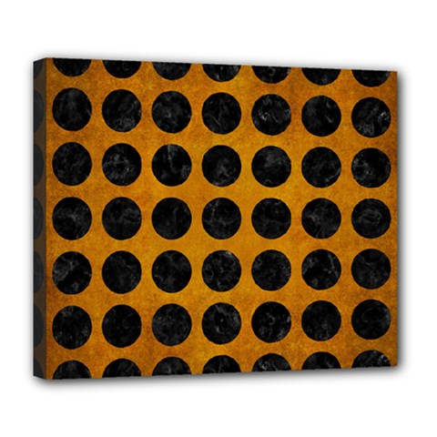 Circles1 Black Marble & Yellow Grunge Deluxe Canvas 24  X 20