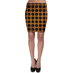 Circles1 Black Marble & Yellow Grunge Bodycon Skirt