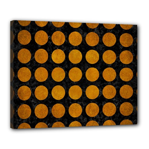 Circles1 Black Marble & Yellow Grunge (r) Canvas 20  X 16