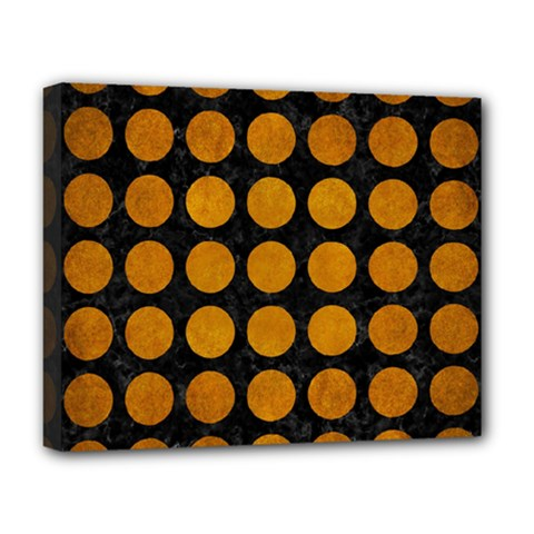 Circles1 Black Marble & Yellow Grunge (r) Deluxe Canvas 20  X 16