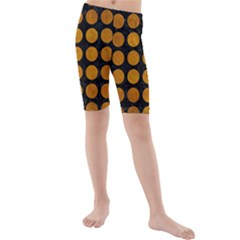 Circles1 Black Marble & Yellow Grunge (r) Kids  Mid Length Swim Shorts