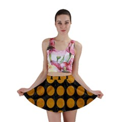 Circles1 Black Marble & Yellow Grunge (r) Mini Skirt