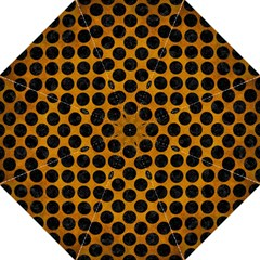 Circles2 Black Marble & Yellow Grunge Folding Umbrellas