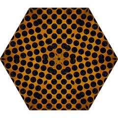 Circles2 Black Marble & Yellow Grunge Mini Folding Umbrellas