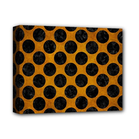 Circles2 Black Marble & Yellow Grunge Deluxe Canvas 14  X 11