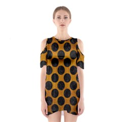Circles2 Black Marble & Yellow Grunge Shoulder Cutout One Piece