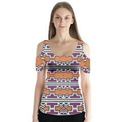 Purple And Brown Shapes                                   Butterfly Sleeve Cutout Tee