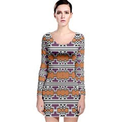 Purple And Brown Shapes                                  Long Sleeve Velvet Bodycon Dress