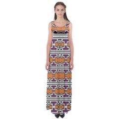 Purple And Brown Shapes                             Empire Waist Maxi Dress