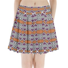 Purple And Brown Shapes                              Pleated Mini Mesh Skirt