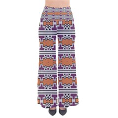 Purple And Brown Shapes                            Women s Chic Palazzo Pants