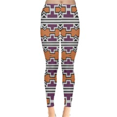 Purple And Brown Shapes                                  Leggings