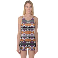 Purple And Brown Shapes                                  Women s Boyleg One Piece Swimsuit