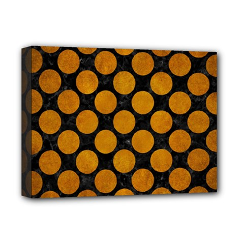 Circles2 Black Marble & Yellow Grunge (r) Deluxe Canvas 16  X 12